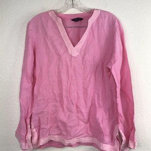 Lands End Tunic Blouse SZ M/P Solid Pink Long Slee